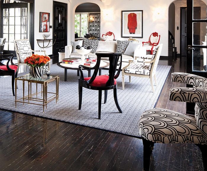 Chic black, white and red living room [By: California Home + Design]
