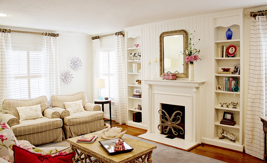 View In Gallery Chic Cottage Style Living Room With Lovely Neutral Hues Design Annies Designs