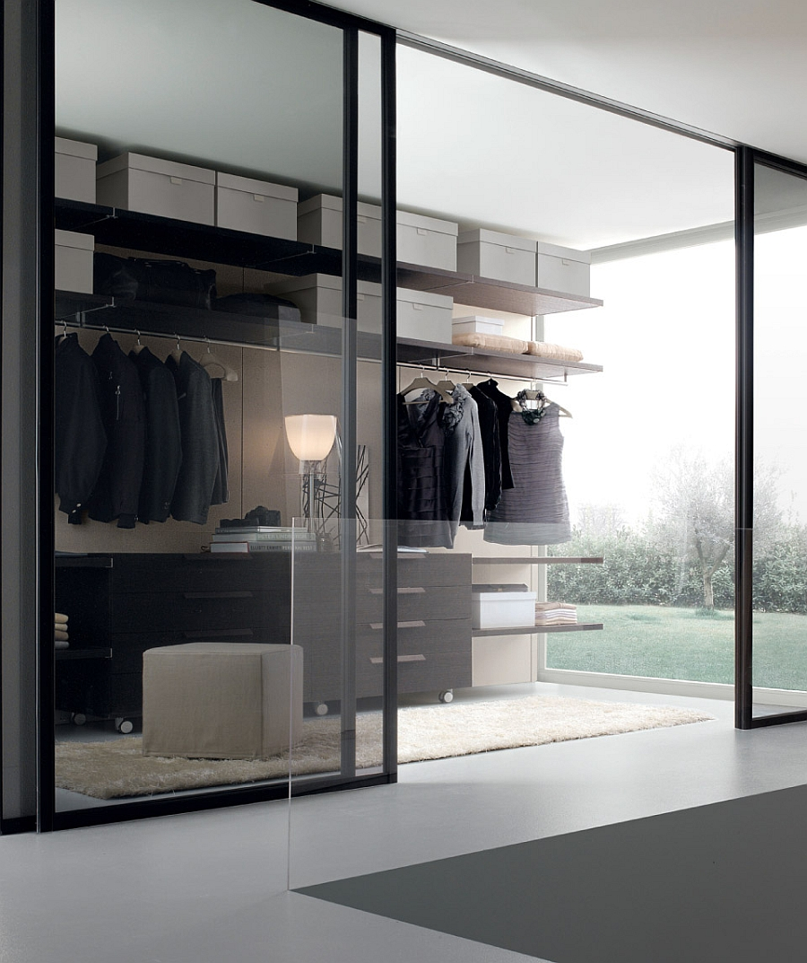 View in gallery Chic sliding glass doors for the modern walk-in closet & 12 Walk-In Closet Inspirations To Give Your Bedroom A Trendy Makeover