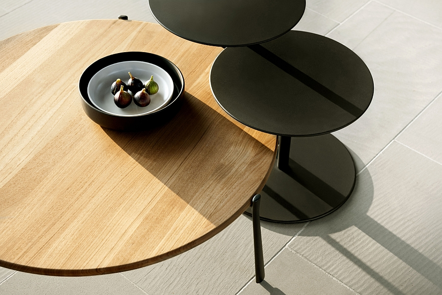 Circular coffee tables bring indoor charm outside with durable design