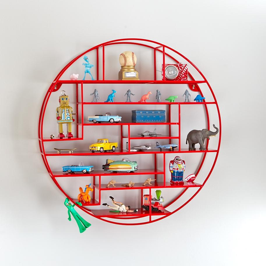 Circular wall shelf in red