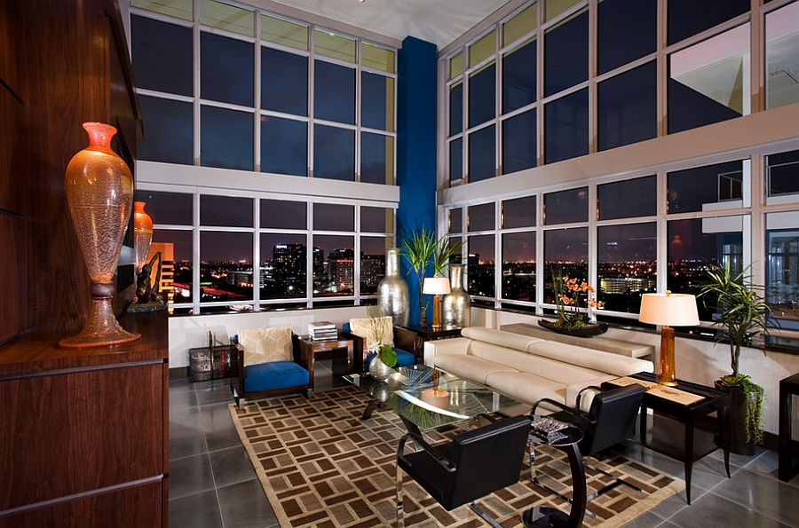 View in gallery City skyline becomes an integral part of the living room  Design David Rance Interiors 55 Incredible Masculine Living Room Ideas Inspirations