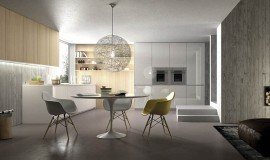 Classic decor additions and smart lighting shape small dining area in the kitchen