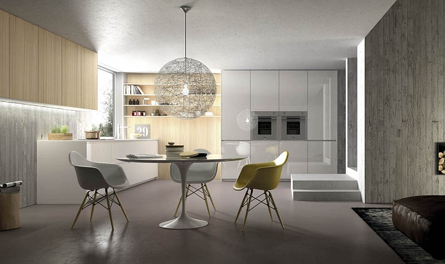 Classic decor additions and smart lighting shape small dining area in the kitchen Innovative Contemporary Italian Kitchens Charm With Timeless Design