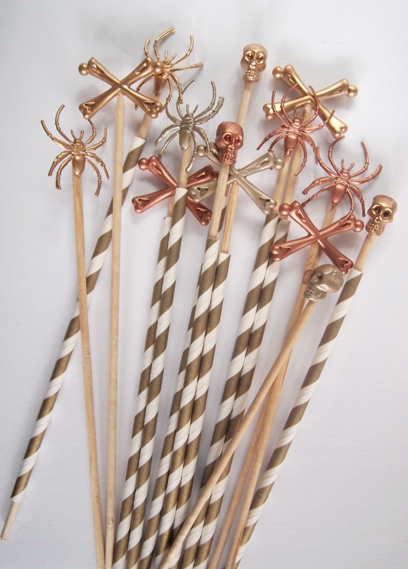 Closer look at the DIY Halloween Stir Sticks