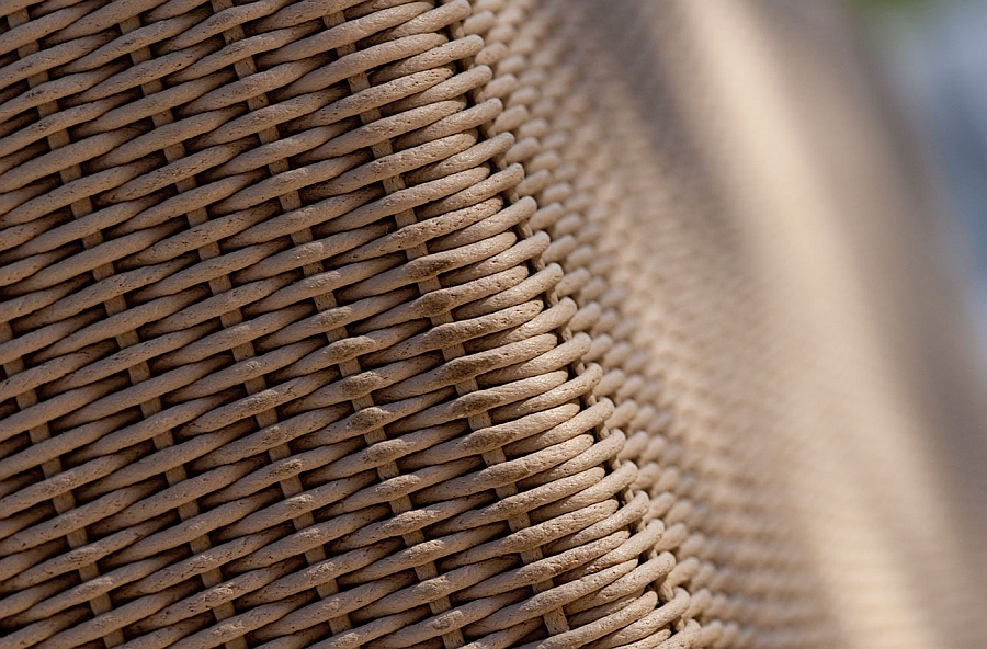 Closer look at the intricate woven pattern of the Terra Collection