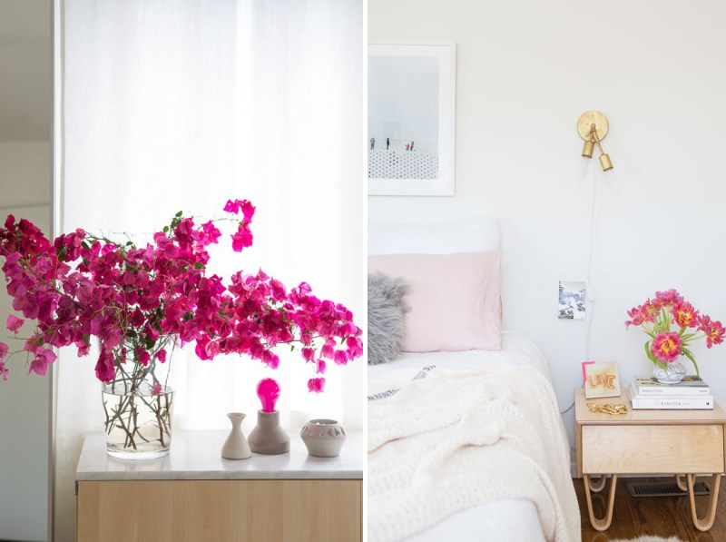 Colorful bedroom makeover with modern lighting
