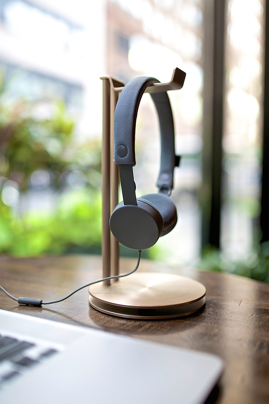 Complete your office or home desk setup with glamorous gold headphone hanger