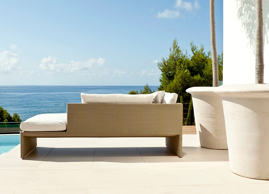 Contemporary Terra Sofa on a poolside deck overlooking the ocean
