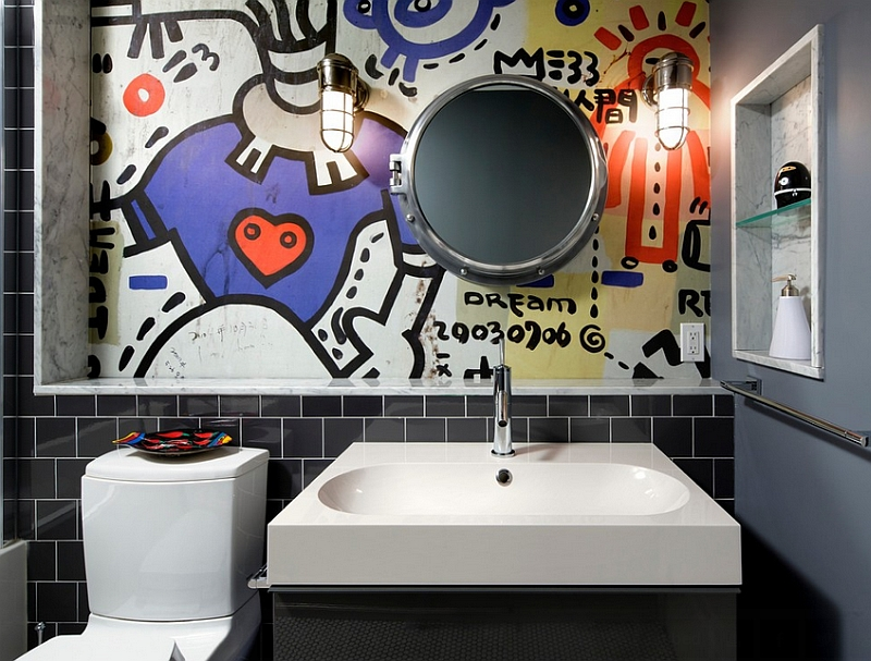 Contemporary bathroom with a graffiti wall mural