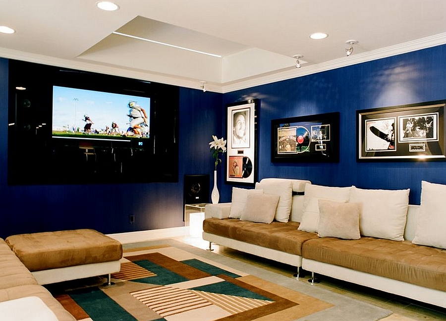 Contemporary home theater with smart walls in sapphire [Design: Tracy Murdock Allied]