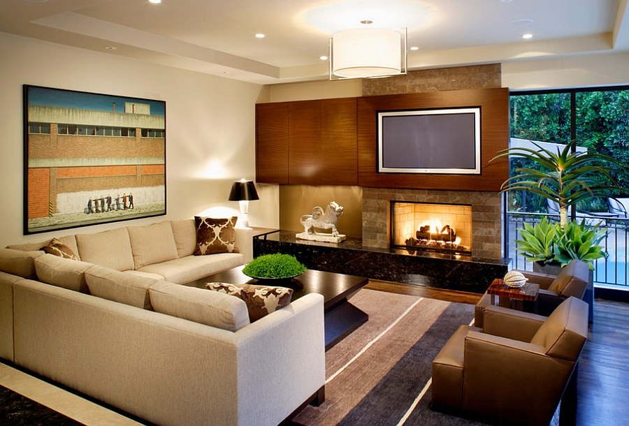 Contemporary masculine living room with plush seating