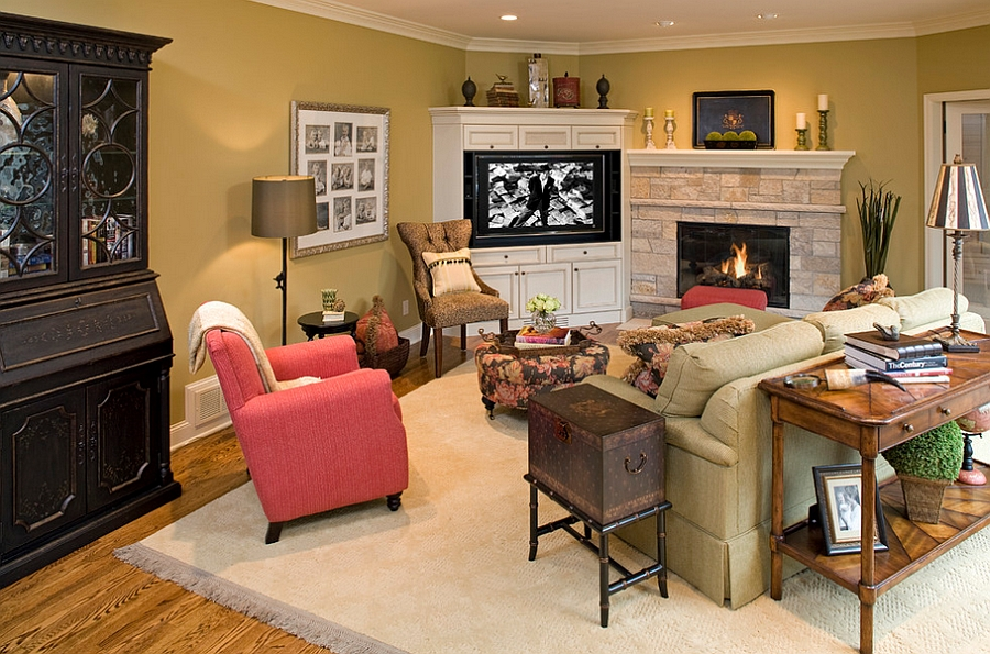 Corner TV allows you to turn the fireplace into the focal point of the room [Design: Artful Styles]