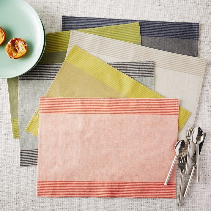 Cotton striped placemats in various hues
