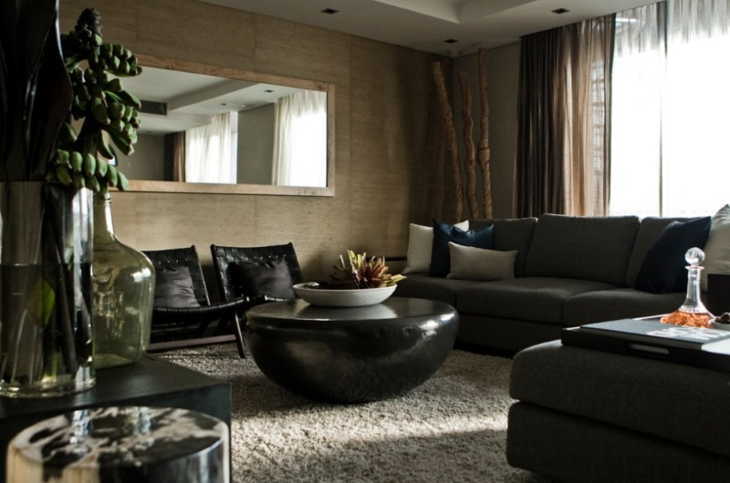 Cozy living room with textured carpeting