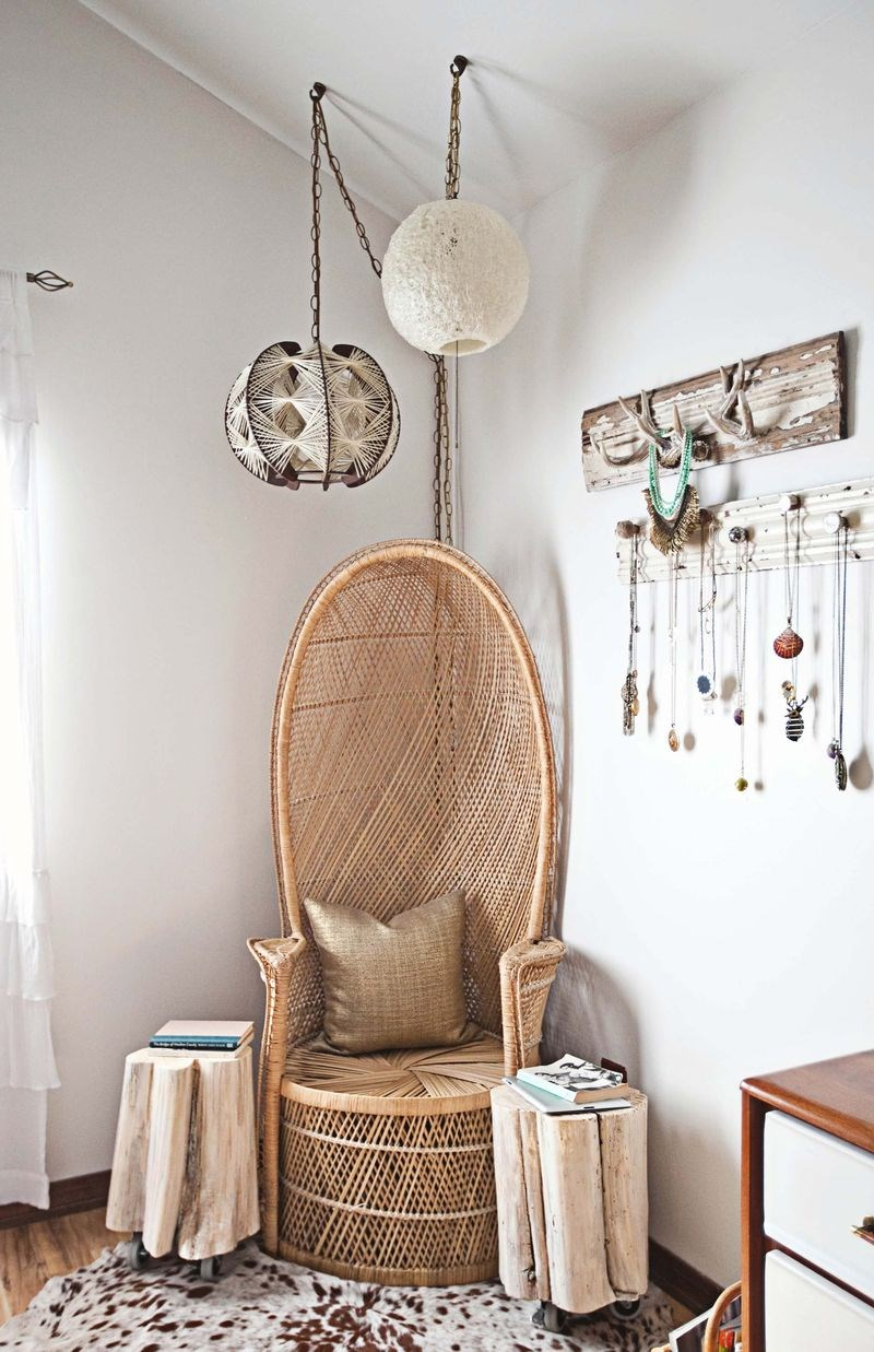 Creative bedroom corner with seating and jewelry storage