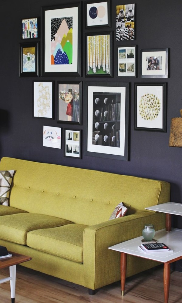 Creative gallery wall in the living room
