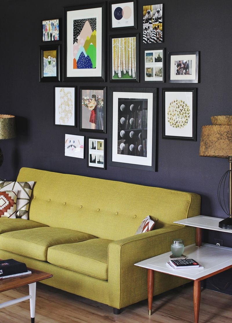 Create an eye catching gallery wall Over the sofa wall decor ideas