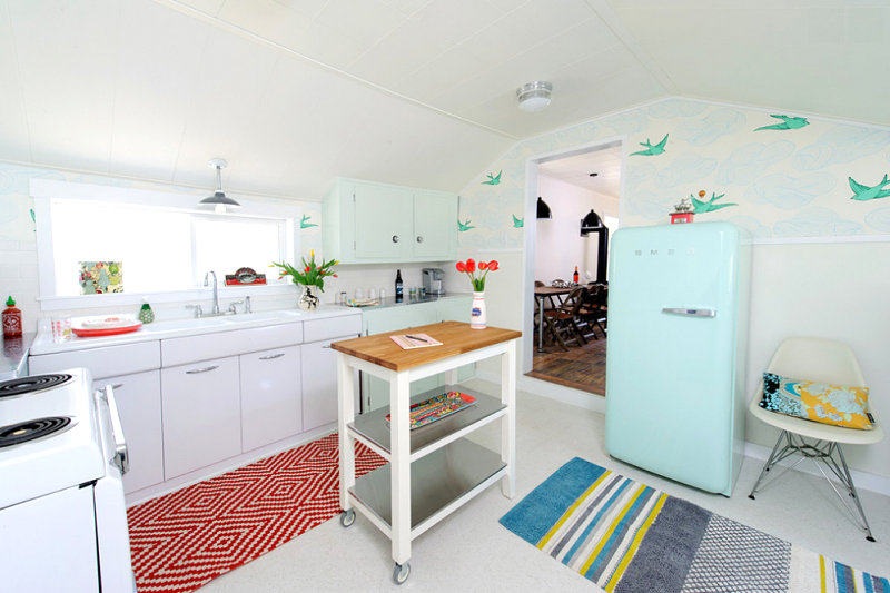 Creative kitchen with color and retro style