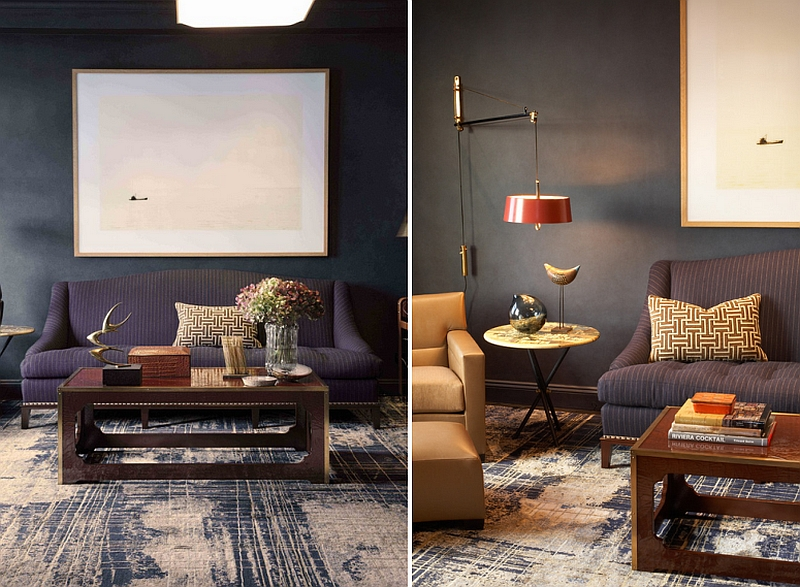 Custom rug accentuates the masculine vibe of the room [Design: David Scott Interiors]
