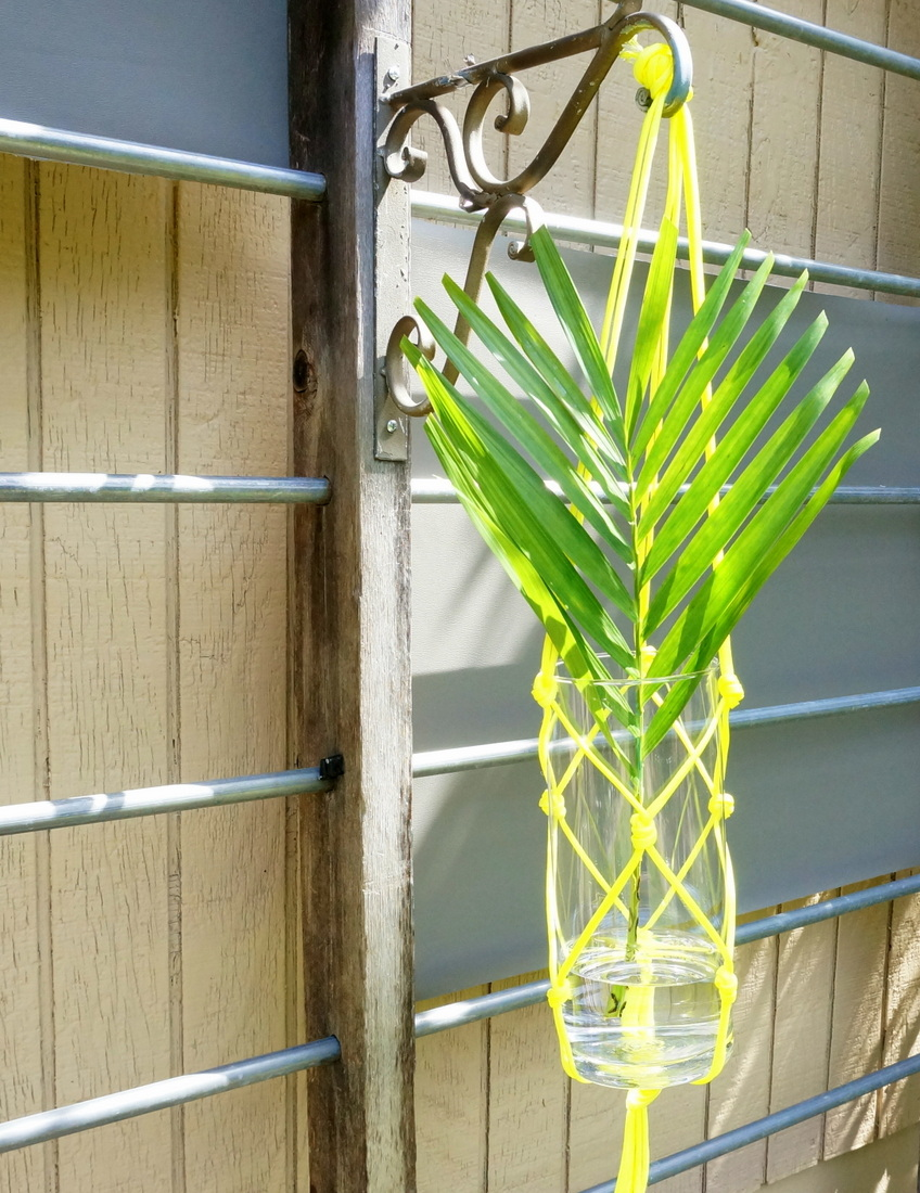 DIY hanging vase with a palm leaf