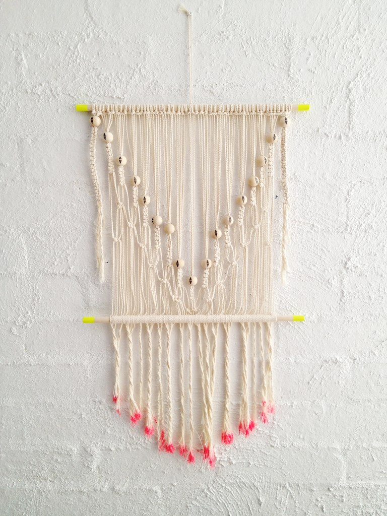 DIY macrame with neon touches
