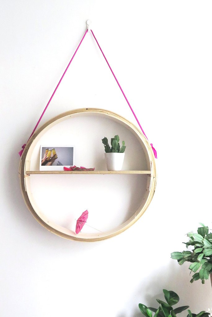 DIY round hanging shelf from A Pair & a Spare