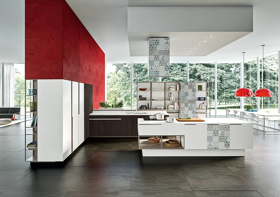 Dark red accents enliven the msart contemporary kitchen in arctic white