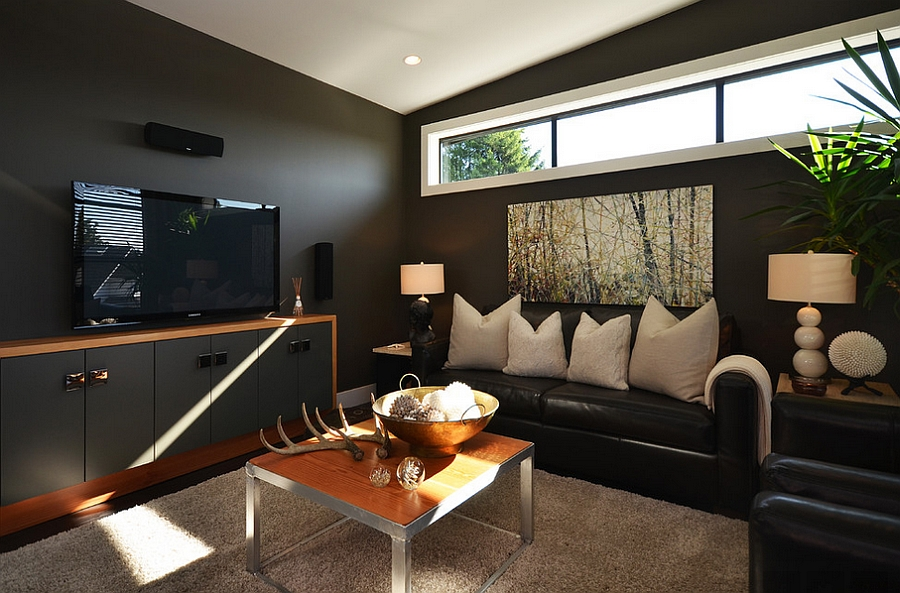 Dashing use of black in the living room [By: Dawna Jones Design]