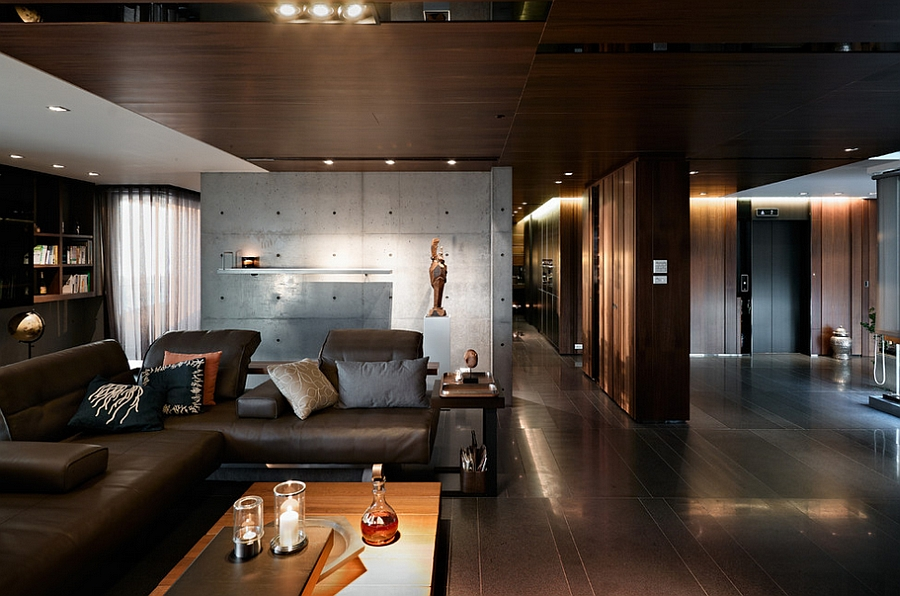 View In Gallery Deep, Dark Living Room With Cool Textural Contrast [Design:  Leicht Part 54