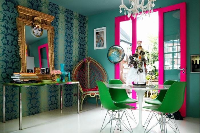 Dining room of designer Matthew Williamson