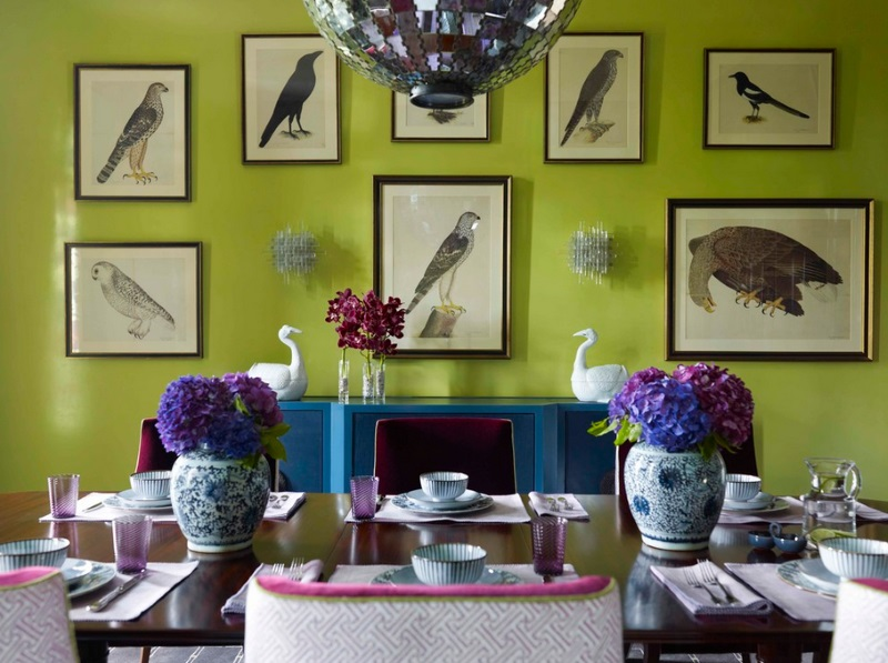 Dining room wall gallery of birds