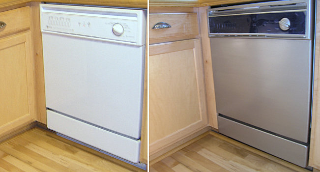 Dishwasher makeover with stainless steel paint
