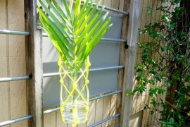 A DIY Hanging Vase With Neon Cording
