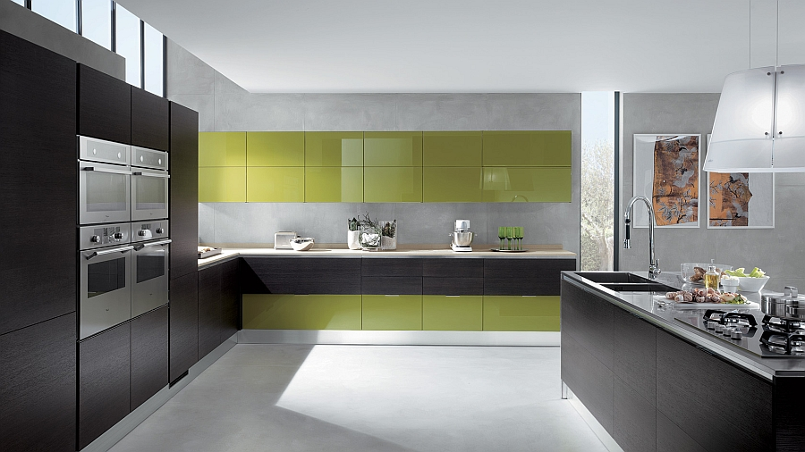 Elegant use of grey oak and lime green in the modern kitchen