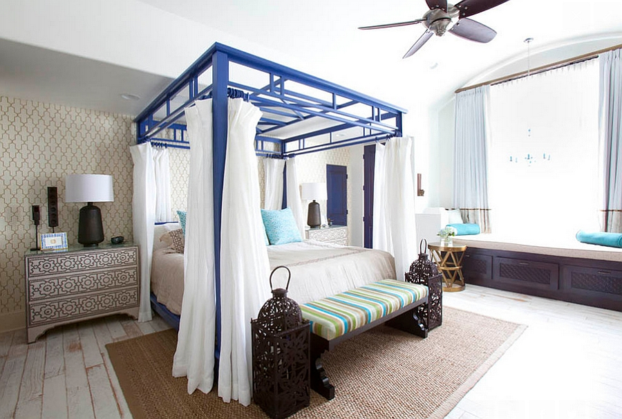 Exciting pops of color and intricate pattern breathe life into the bedroom [Design: Laura U]