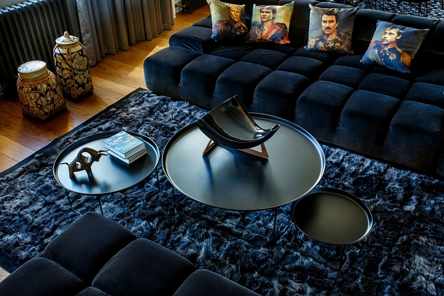 Exquisite decor, unique throw pillows and coffee table in the living room