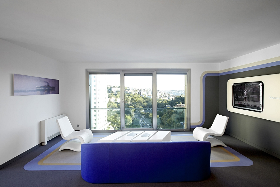 View In Gallery Exquisite Interior Shaped In Blue, White And Dark Grey