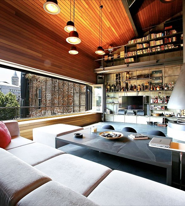 Exquisite living room of the penthouse loft in Istanbul