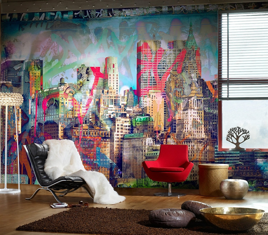 View in gallery Fabulous and colorful graffiti wall for the eclectic living room  Graffiti Brings Spirited Street Style IndoorsGraffiti Interiors  Home Art  Murals And Decor Ideas. Graffiti Bedroom Decorating Ideas. Home Design Ideas