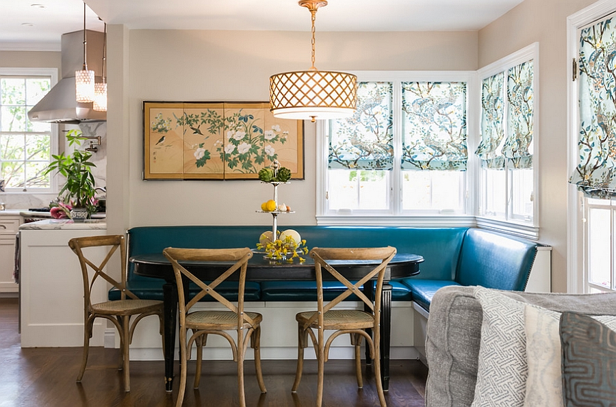 Fabulous corner banquette in the kitchen [By Catherine Nguyen Photography]