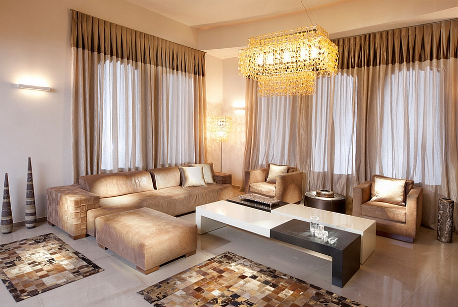 Fabulous living room with a warm, cozy golden allure! [Photography: Elad Gonen]