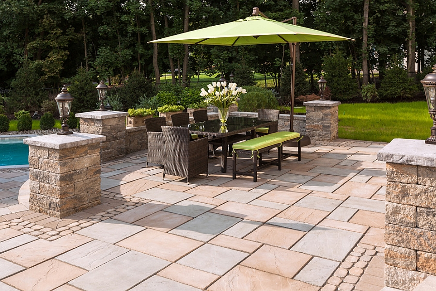 Fabulous outdoor dining space offers a great place for fall parties