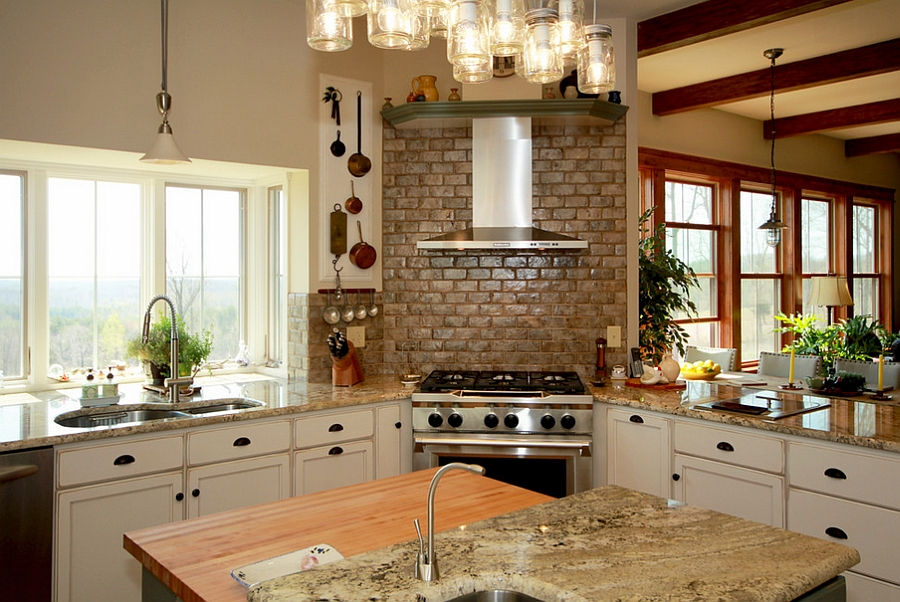 View In Gallery Farmhouse Kitchen With Corner Range And Hood [Design: Smith  U0026 Robertson]