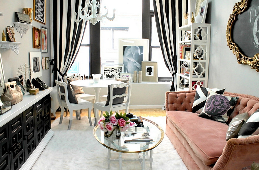 Feminine living rooms ideas decor design trends Bold black and white striped curtains