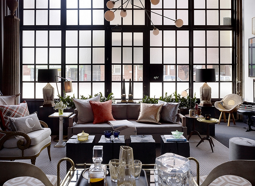 Frosted glass windows add inimitable style to the large living room