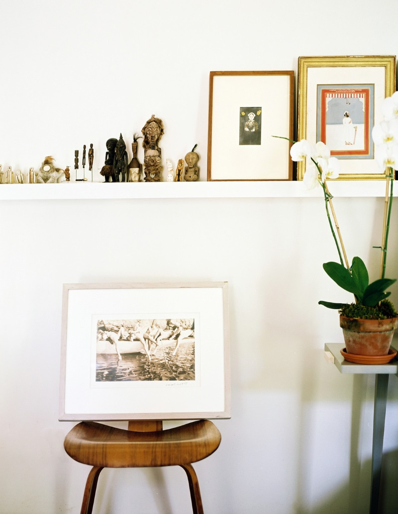 Gallery wall with art and mementos