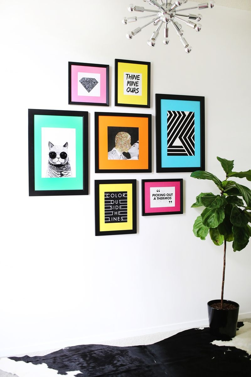 Gallery wall with colorful mats