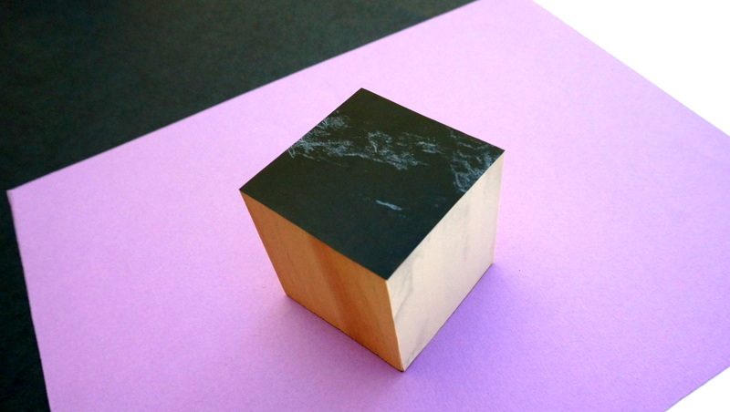 Geo cube with marble contact paper