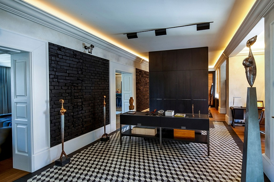 Geometric tiles give the interior a smart, sophisticated vibe